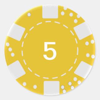 Yellow Poker Chip Classic Round Sticker