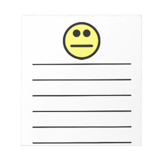 Yellow Poker Face Stare Smiley Face Notepad