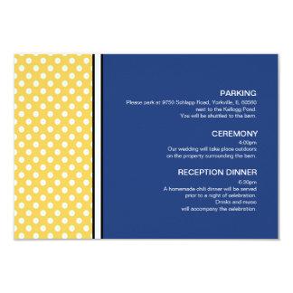 Yellow Polka Dot and Blue Wedding Enclosure Card