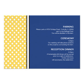 Yellow Polka Dot and Blue Wedding Enclosure Card Personalized Announcements