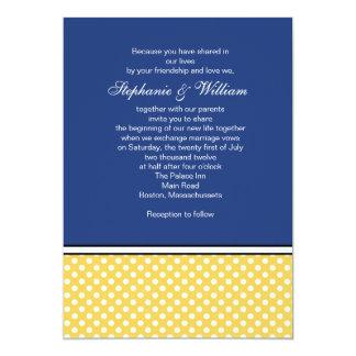 Yellow Polka Dot and Blue Wedding Invitation
