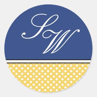 Yellow Polka Dot and Blue Wedding Sticker