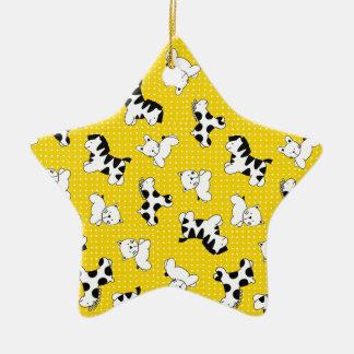 Yellow Polka Dot Baby Animals Ceramic Ornament