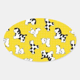 Yellow Polka Dot Baby Animals Oval Sticker