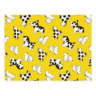 Yellow Polka Dot Baby Animals Postcard