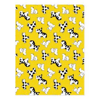 Yellow Polka Dot Baby Animals Postcards