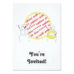 """Yellow Polka Dot Bikini Time Snowmen Photo Frame 5"""" X 7"""" Invitation Card"""