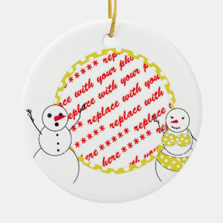 Yellow Polka Dot Bikini Time Snowmen Photo Frame Ornaments