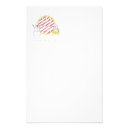 Yellow Polka Dot Bikini Time Snowmen Photo Frame Stationery