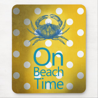 """Yellow Polka Dot Blue Crab """"On Beach Time"""" Mouse Pad"""