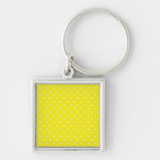 Yellow Polka Dot Design Silver-Colored Square Keychain