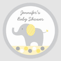 Yellow Polka Dot Elephant Baby Shower Classic Round Sticker