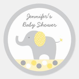 Yellow Polka Dot Elephant Baby Shower Classic Round Sticker