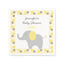 Yellow Polka Dot Elephant Baby Shower Paper Napkin
