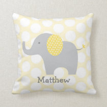 Yellow Polka Dot Elephant Nursery Throw Pillow