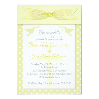 Yellow Polka Dot First Holy Communion Invitation