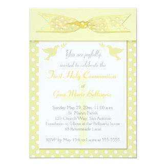 Yellow Polka Dot First Holy Communion Invitation