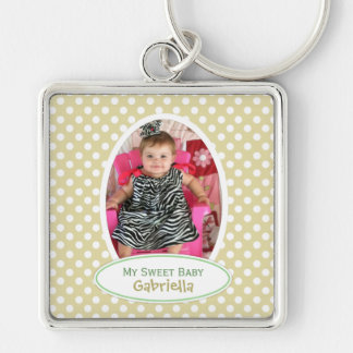 Yellow Polka Dot Framed Keychain: Add Your Picture Silver-Colored Square Keychain