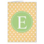 Yellow Polka Dot Green Monogram Card