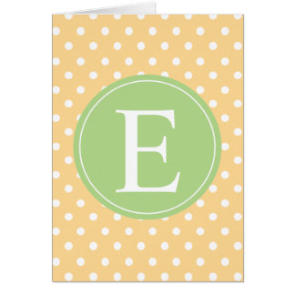 Yellow Polka Dot Green Monogram Card