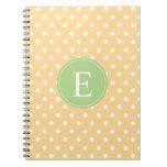 Yellow Polka Dot Green Monogram Spiral Notebook