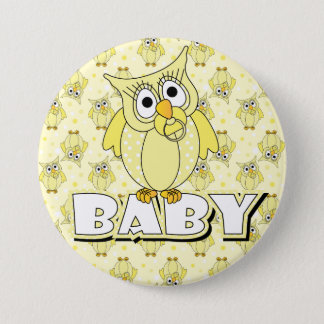 Yellow Polka Dot Owl Baby Shower Theme Button