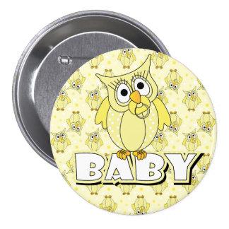 Yellow Polka Dot Owl Baby Shower Theme Button