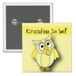 Yellow Polka Dot Owl Baby Shower Theme 2 Inch Square Button