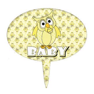 Yellow Polka Dot Owl Baby Shower Theme Cake Pick