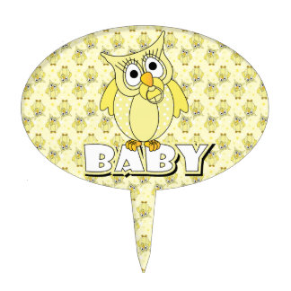 Yellow Polka Dot Owl Baby Shower Theme Cake Topper