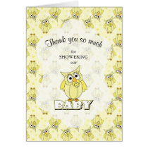 Yellow Polka Dot Owl Baby Shower Theme Card