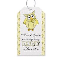 Yellow Polka Dot Owl Baby Shower Theme Gift Tags