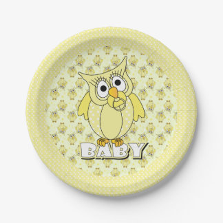 Yellow Polka Dot Owl Baby Shower Theme Paper Plate