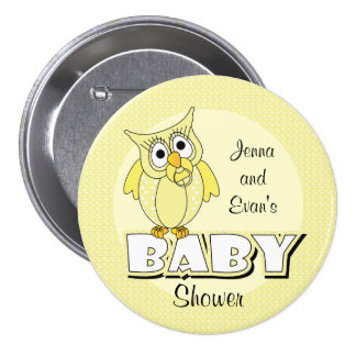 Yellow Polka Dot Owl | Baby Shower Theme Pinback Button