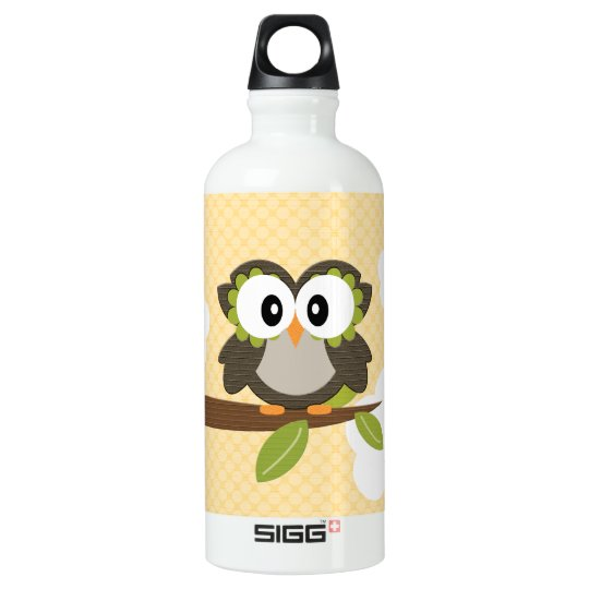 Yellow Polka Dot Owl BPA Free Aluminum Water Bottle
