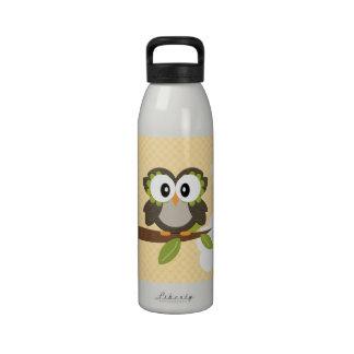 Yellow Polka Dot Owl Water Bottle BPA Free