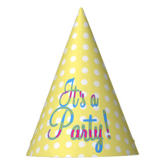 Yellow Polka Dot Party Hats, It's a Party! Party Hat