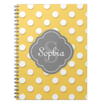 Yellow Polka Dot Pattern Grey Monogram Notebook
