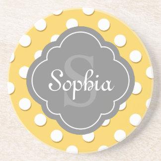 Yellow Polka Dot Pattern Grey Monogram Sandstone Coaster