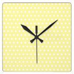 Yellow polka dot pattern. Spotty. Square Wall Clock