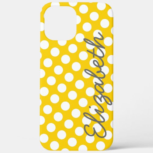 Yellow Polka Dot Pattern with Gray Name Phone Case