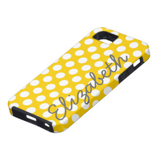 Yellow Polka Dot Pattern with Gray Name iPhone SE/5/5s Case