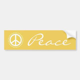 Yellow Polka Dot Peace Sign Car Bumper Sticker