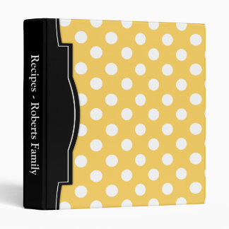 Yellow Polka Dot personalized Recipe Binder