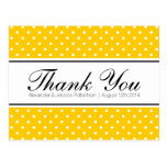 Yellow polka dot print wedding thank you postcards