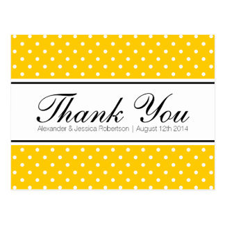 Yellow polka dot print wedding thank you postcards