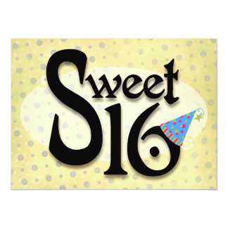 Yellow Polka Dot Sweet 16 Card