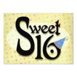 Yellow Polka Dot Sweet 16 Invitation