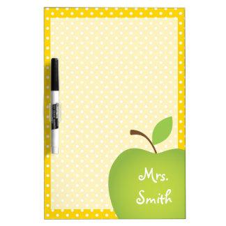 Yellow Polka Dot Teacher's Green Apple Dry-Erase Board