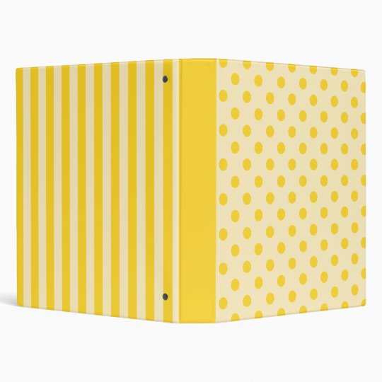 Yellow polka dots and stripes binder